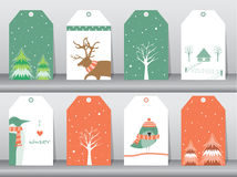 Set of winter, christmas holiday, vacation poster set. Flat design, use for greeting and invitation card. Vector illustrations. Stock Images