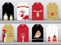 Set of winter, christmas holiday, vacation poster set. Flat design, use for greeting and invitation card. Vector illustrations. Stock Image