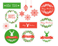 Set of Winter Christmas icons, elements and illustrations. Royalty Free Stock Photography