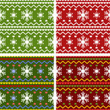 Set of winter or Christmas knitted pattern Royalty Free Stock Photos