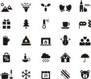 Set of winter and Christmas web icons. Set of flat web glyph icons related to winter and Christmas Stock Images