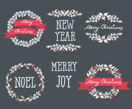 Set of winter christmas wreaths, design elements Royalty Free Stock Photography