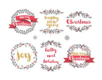 Set of winter christmas wreaths, vector design elements Stock Images
