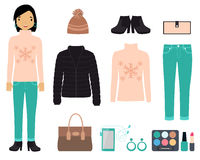 Set of winter clothes Stock Photo