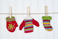 Set of Winter Clothing on a Clothesline Royalty Free Stock Image