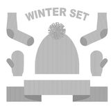 Set winter clothing: hat and mittens. Socks and scarves. Knittin Stock Photography