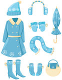 Set of winter clothings Stock Photo