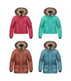 Set of winter coats. Vector set of long and short brown, pink, turquoise, blue sport winter coats with fur hood front view  on white background Stock Image