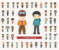 Set of winter collection character Stock Image