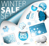 Set of winter discount elements Royalty Free Stock Photos