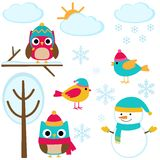 Set of winter elements Stock Images