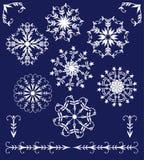 Set of winter elements  mandala-style snowflakes Royalty Free Stock Photo