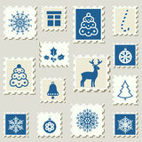 Set of winter events postal stamps. royalty free illustration