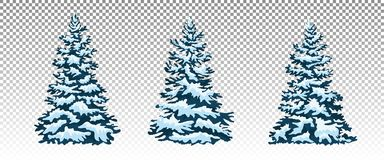 Set: Winter forest. Christmas trees in the snow. Eps 10 Vector. Royalty Free Stock Images