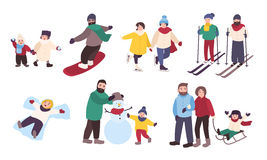 Set of winter games. Different people entertainment in winter sports. Friends, couples with children skate, ski. Snowboard, make snowman. Colorful vector Stock Images