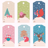 Set of winter gift tags Stock Photos