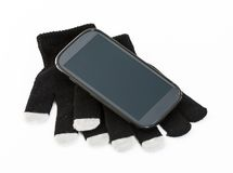 Set of winter gloves with touch pad feature Stock Photos