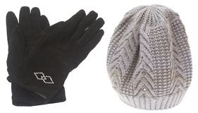 Set of winter hat and gloves isolated on white Royalty Free Stock Photography