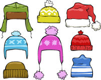 Set of winter hats Stock Images