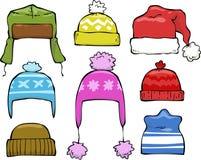 Set of winter hats. Set cartoon of winter hats vector illustration stock illustration