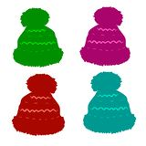 Set of winter hats in stock photo