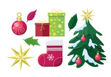 Set of Winter Holiday Attributes Illustrations Royalty Free Stock Image