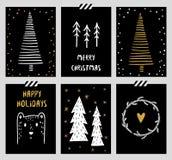 Set of Winter Holiday card templates Royalty Free Stock Photos