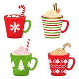 Set of winter holiday cup. Vector illustration royalty free illustration