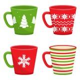 Set of winter holiday cups. Vector illustration stock illustration