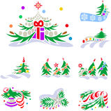 Set of winter holiday decorations with fir trees. Vector illustrations Stock Photo