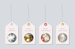 Set of winter holiday motive tags Royalty Free Stock Images