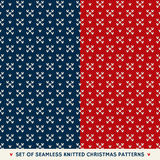 Set of 2 Winter Holiday Seamless Knitted Patterns Royalty Free Stock Photography
