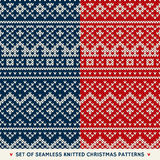 Set of 2 Winter Holiday Seamless Knitted Patterns Stock Image