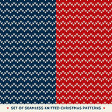 Set of 2 Winter Holiday Seamless Knitted Patterns Royalty Free Stock Image