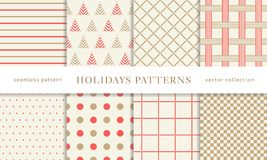 Winter holidays seamless patterns. Set of winter holiday seamless patterns. Merry Christmas and Happy New Year. Collection of simple geometric textured royalty free illustration