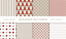 Winter holidays seamless patterns. Set of winter holiday seamless patterns. Merry Christmas and Happy New Year. Collection of simple geometric textured Stock Illustration