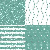 Set of winter holiday seamless patterns. Vector stock illustration