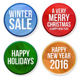 Set of winter holidays circle buttons Stock Image