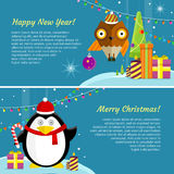 Set of Winter Holidays Concept Vector Banners. Set of winter holiday concept vector banners.  Flat style. Funny penguin in santa hat and owl on winter holidays Royalty Free Stock Image