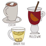 Set of winter hot drinks. Hand drawn  illustration. Cocoa, mulled wine and ginger tea on white background.  Stock Photo