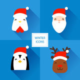 Set of winter icons with Christmas characters: rooster, Santa, penguin and deer. Flat design. Stock Photo