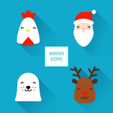 Set of winter icons with Christmas characters: rooster, Santa, sea calf and deer. Flat design. Stock Photos