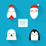 Set of winter icons with Christmas characters: rooster, Santa, sea calf and penguin. Flat design. Vector illustration.  Royalty Free Illustration