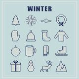 Set winter icons. Knitted texture with ornament. Vector illustra Royalty Free Stock Image