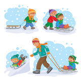 Set winter icons with little children Stock Photos