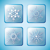 Set 2 of winter icons with snowflakes Stock Images