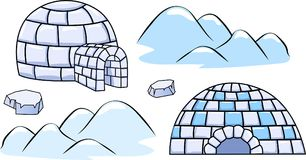 A set of winter igloo houses and ice floes Stock Photo