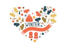 Set of winter items Royalty Free Stock Image