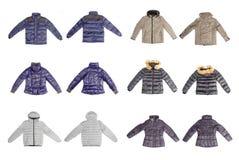 Set of winter jacket isolated on white background Stock Images