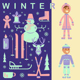 Set of winter kids clothes Royalty Free Stock Images